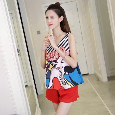 夏季新款韩版卡通印花休闲套装v领无袖背心上衣+阔腿短裤两件套女