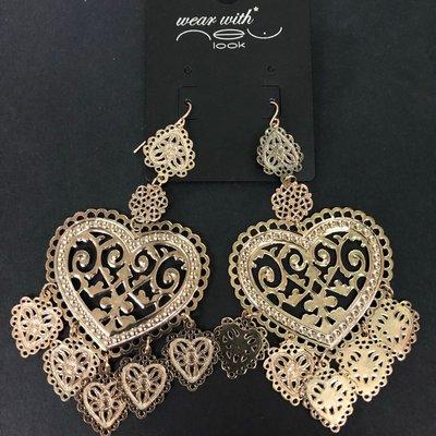 Earrings heart ❣ dangle gold heart shape 💓 淺 金色心形 耳環 耳飾 飾物 出口 貨
