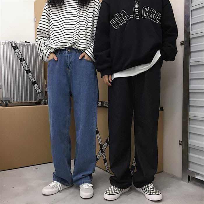 韓國INS同款原宿bf風復古水洗百搭寬鬆老爹褲牛仔直筒寬管褲男女
