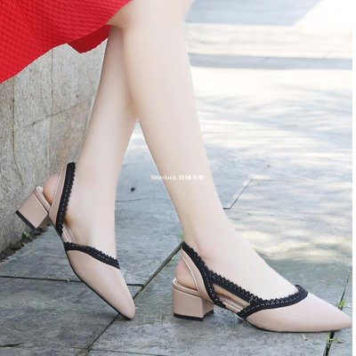 litterluck-韓國專櫃白色包頭涼鞋女尖頭低跟鞋2019夏季新款軟皮女鞋中跟后空粗跟涼鞋