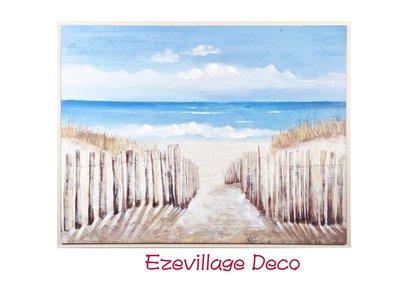 【Eze Art Deco】美國設計師傢飾,手繪海邊風景壁掛油畫-圍籬.裝飾掛畫.咖啡館.主題民宿餐廳熱銷裝飾