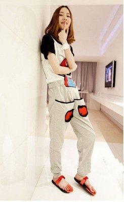 ☆Candy Box☆2015春秋新款韓版糖果色可愛超级瑪莉背帶褲 灰 Z2611751