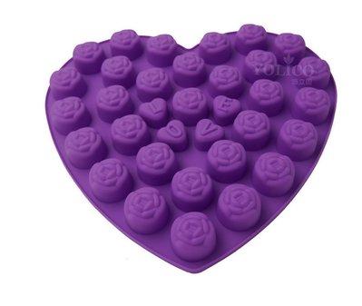 【悠立固】Y716 心型玫瑰花矽膠模巧克力蛋糕 手工皂模具烘焙工具 冰盒冰塊布丁果凍軟糖模食品級