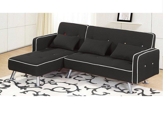 【DH】商品貨號N669-2商品名稱《艾達文》L型黑皮面沙發組(圖一)右向194CM備有左向圖二/綠皮革另計。新品特價