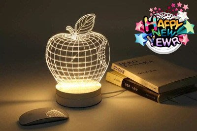 《美學空間》立體3D視覺光雕櫸木座燈‧小夜燈‧療癒氣氛燈-聖誕禮物‧情人節禮物‧生日禮物‧喬遷新居賀禮-蘋果款
