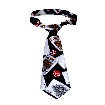 【天天魔法】【B819】(新款)(二代)撲克骰子領帶(黑底)(寬版)(魔術師領帶)