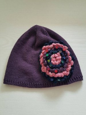 BENETTON 紫色 花朵 亮片 毛線帽 買一送一