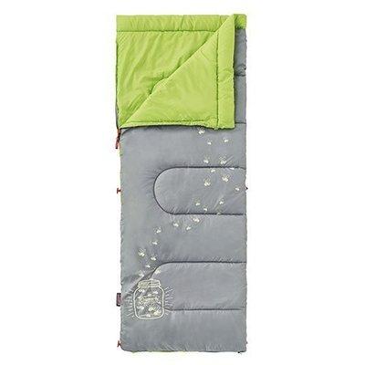 【大山野營】Coleman CM-22259 夜光型萊姆綠兒童睡袋/C7 纖維睡袋 中空纖維 全開信封式