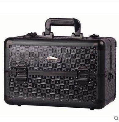 【優上】天城唯美黑色多層專業手提化妝箱跟妝箱半紋繡工具箱配背帶熱銷