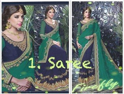 1. 藍綠金典款 Classic Saree 寶萊塢明星風格莎麗 印度舞衣紗麗 Sari