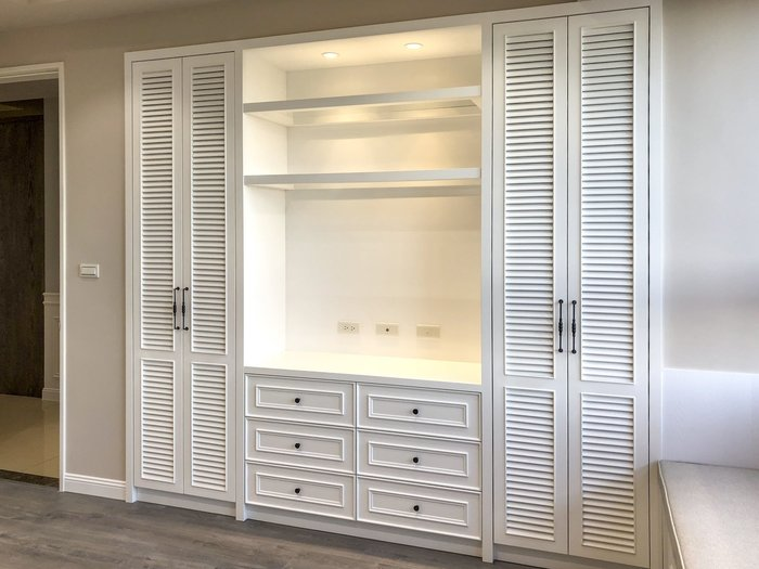 美式 百葉 收納置物 衣櫃+電視櫃