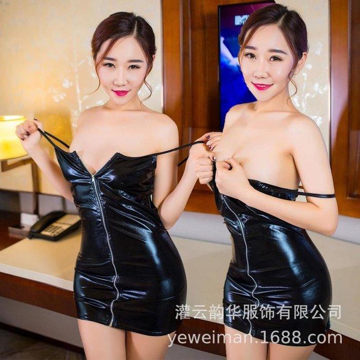 99巷 歐美情趣內衣黑色性感夜店表演漆皮拉鏈裝誘惑吊帶包臀短裙