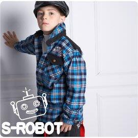 特價台灣製造男童裝/個性格紋拼布口袋襯衫/100%優質棉少年長袖格子襯衫/大男童新年款外出上衣/孩子王百貨專櫃童裝