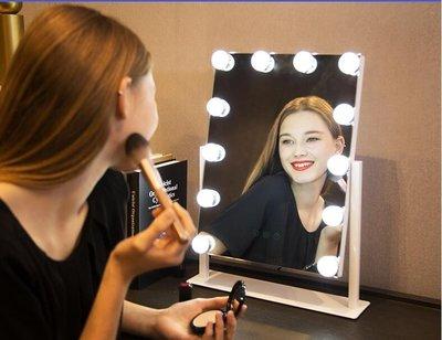 梳妝鏡ins網紅led化妝鏡帶燈泡鏡子少女宿舍台式大號智慧補光桌面