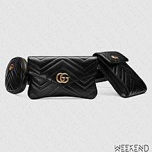 【WEEKEND】 GUCCI GG Marmont matelassé 三包 皮革 腰包 黑色 524597