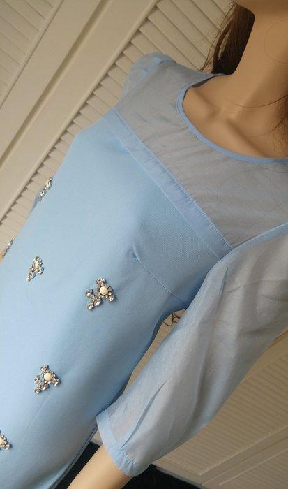 【Lisa Lisa 】天空藍水鑽綴飾烏干紗袖A-Line 洋裝