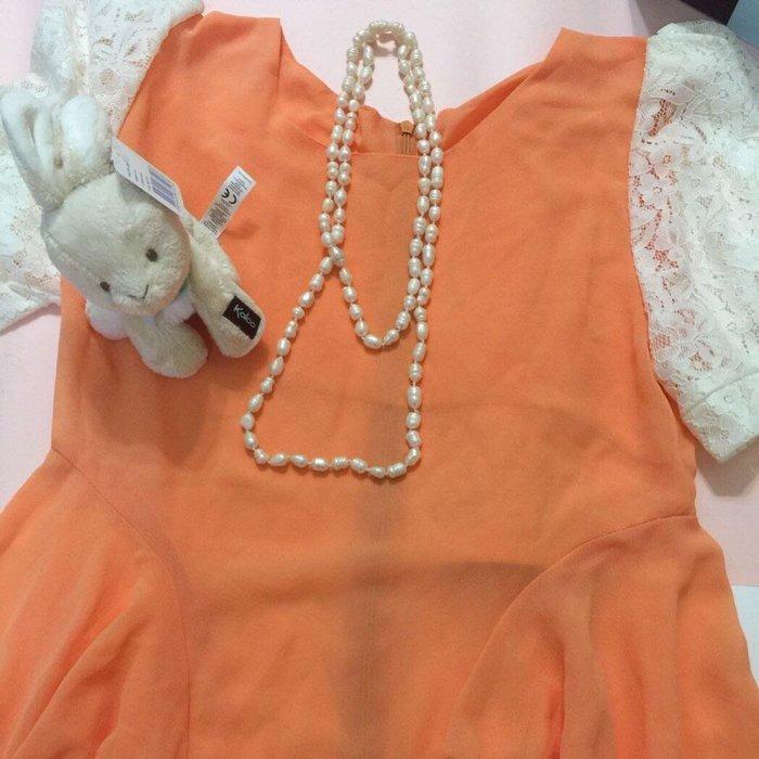《現貨免運》珍珠項鍊 珍珠長鍊 未加工過的珍珠項鍊 長鍊 非塑膠製成 連同衣服一起出清。