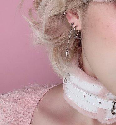 【黑殿】百搭個性不鏽鋼圓圈鍊條耳環 歐美個性耳環 男女同款韓星同款耳環 無耳洞耳夾耳環EO147