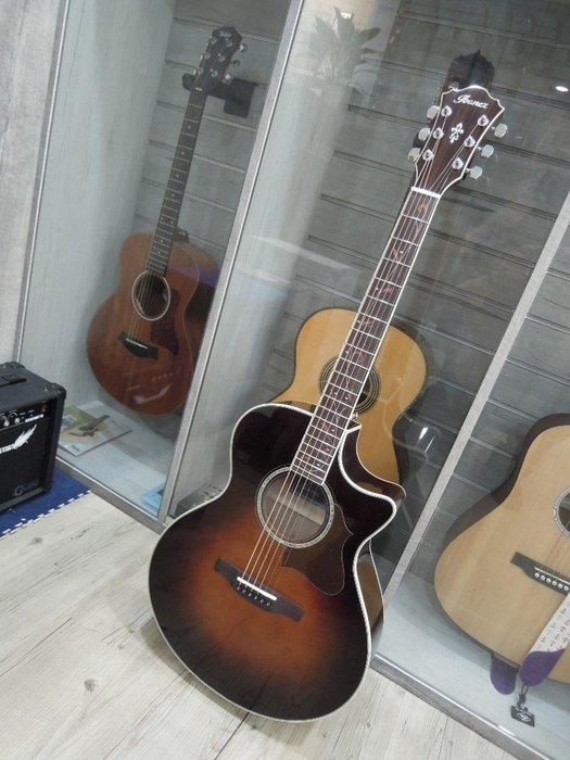台南嘉軒樂器吉他 全新 IBANEZ IBANEZ AE205BS 面單板木吉他 可插電輸出喔