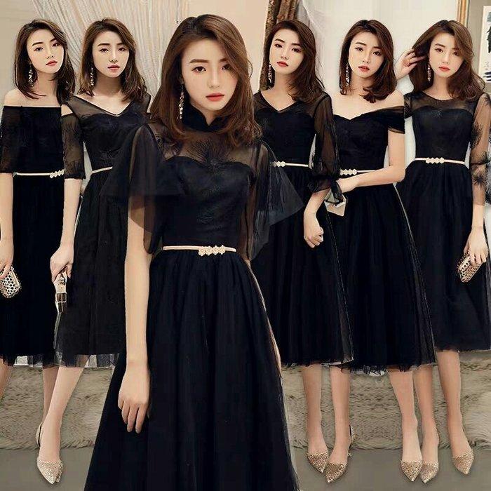 天使佳人婚紗禮服旗袍~~多款黑色蕾絲小禮服伴娘服