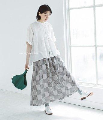 預購 日本品牌 bliss bunch 拼接格紋 棉麻 長裙