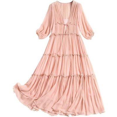 洋裝 真絲連身裙(兩件套)-V領木耳邊繫帶粉色女裙子73yd45[獨家進口][米蘭精品]