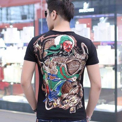 中國風 霸氣 冰絲 龍紋 型男夏季關公T恤男裝修身短袖 男士紋身圖案個性刺青上衣韓版純棉體恤