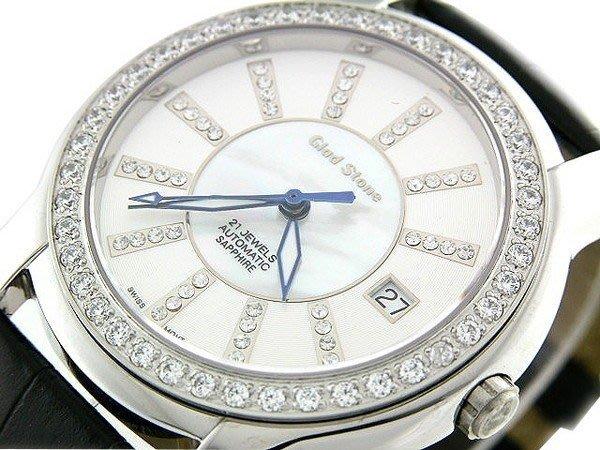 (六四三鐘錶精品店)GLOD STONE(真品)瑞士機芯手錶.外環手工爪鑲鑽.藍寶石水晶鏡面