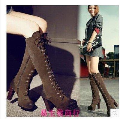 【易生發商行】韓版打蠟牛翻皮粗跟高筒靴高跟中長靴系帶馬丁靴全真皮女靴子棕F6367