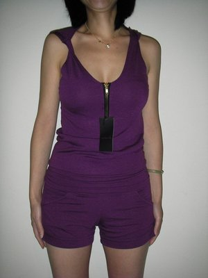 二手日本品牌mimily連帽連身拉鍊短褲 紫色連身褲裝