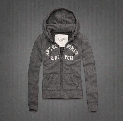 Abercrombie&Fitch AF經典字母排列款式-灰色,美國麋鹿女生連帽外套纯棉休閒帽T【A&F全新品】 台中市