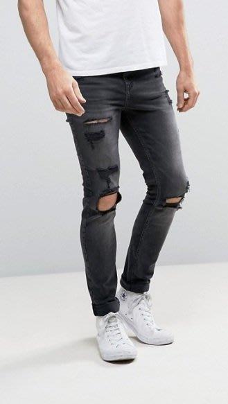 ◎美國代買◎ASOS 超顯廋好看黑刷色雙膝刷破大腿刷破可反摺褲管貼合身有彈性黑刷色破合身牛仔褲~歐美街風~大尺碼~