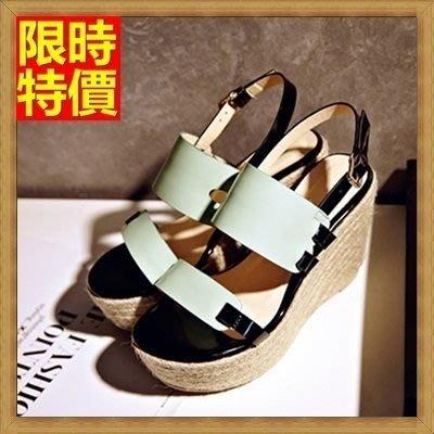 涼鞋 厚底坡跟涼鞋 楔型涼鞋-夏日草編時尚高跟真皮女鞋子2色69w45[獨家進口][米蘭精品]