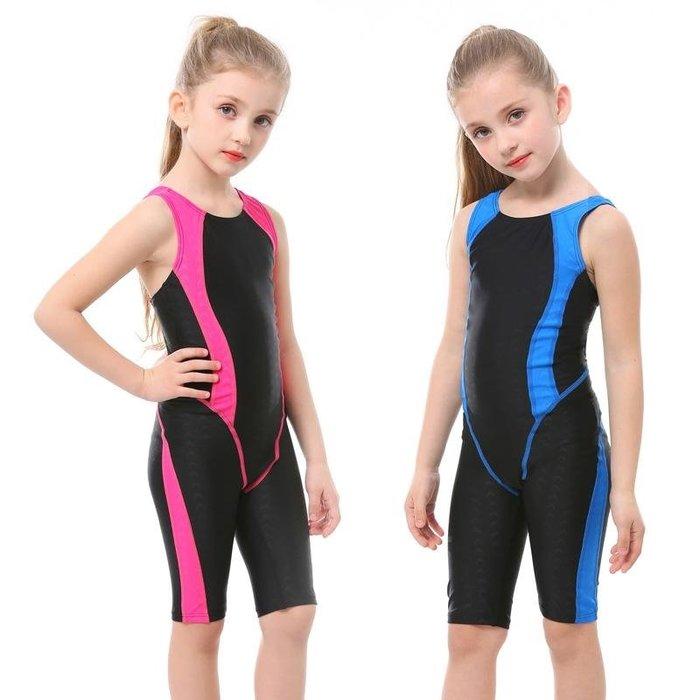 【小阿霏】兒童訓練泳衣 女童側邊純色五分褲連身式泳裝 女孩一件式專業競速泳衣SW53