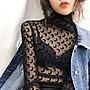 女裝上衣 內搭打底衫蕾絲打底衫女秋裝年新款長袖上衣黑色百搭透視網紗半高領內搭