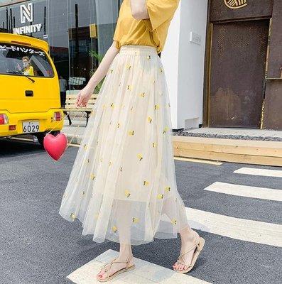 網紗裙 半身裙 夏天新款氣質超火裙子 中長款仙女裙 長裙 韓版洋裝—莎芭
