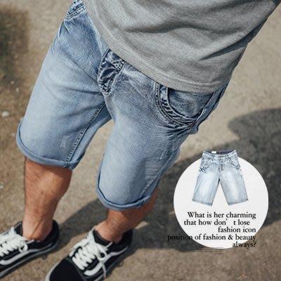 柒零年代【N9565J】立體抓皺洗舊刷色牛仔短褲(UC1834)