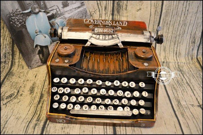 手工鐵皮模型 復古立體鐵件打字機鍵盤擺飾 美式鄉村風懷舊收藏品事務機送禮寶馬生日入厝【歐舍家飾】