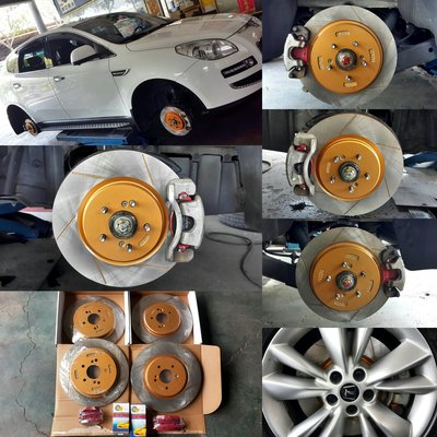 LUXGEN 7煞車套件組[LUXGEN 7(SUV/MPV)專用ROAD MGK劃線碟盤+日本HUMOR陶瓷來令片]