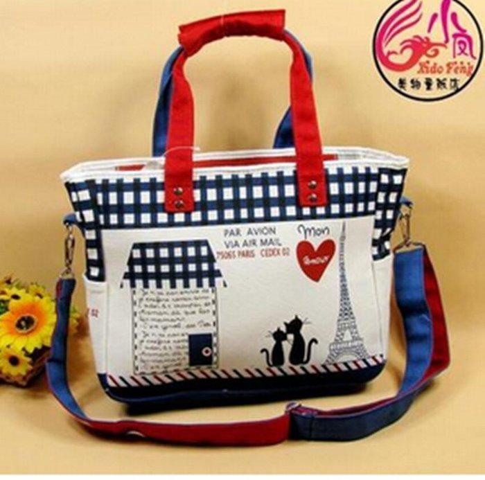 日本外貿貓咪新款斜挎包單肩包手提包學生書包女包帆布包包袋