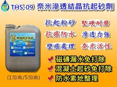 屋頂防水 THS 09 (3公升) 奈米結晶滲透抗起砂劑 鍍膜劑 地坪起砂專用 壁癌 處理 無機水泥