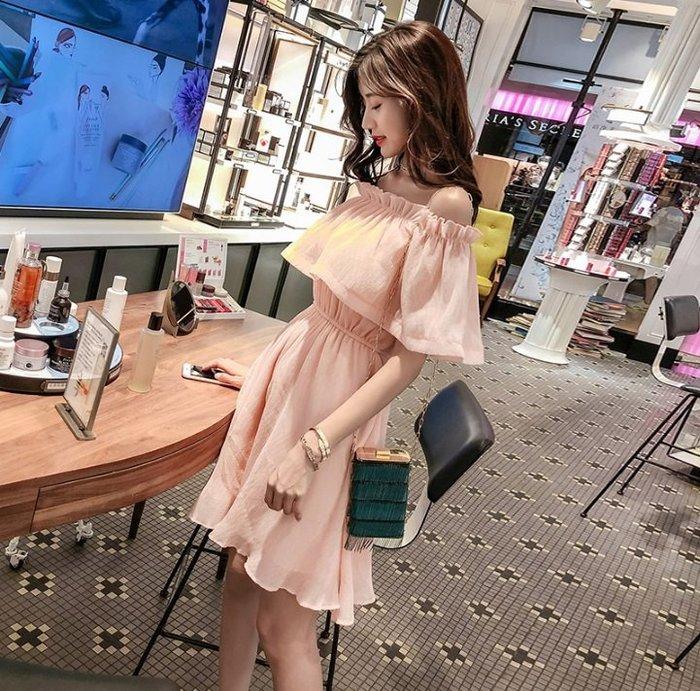 短袖洋裝橘粉色一字領雪紡荷葉邊露肩鬆緊腰圓裙襬短袖洋裝許願魔鏡@wishing Mirror-*-TL13120