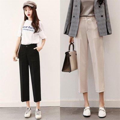 中大尺碼 寬褲女春夏學生韓版顯瘦寬腿黑色西裝褲 nm1433