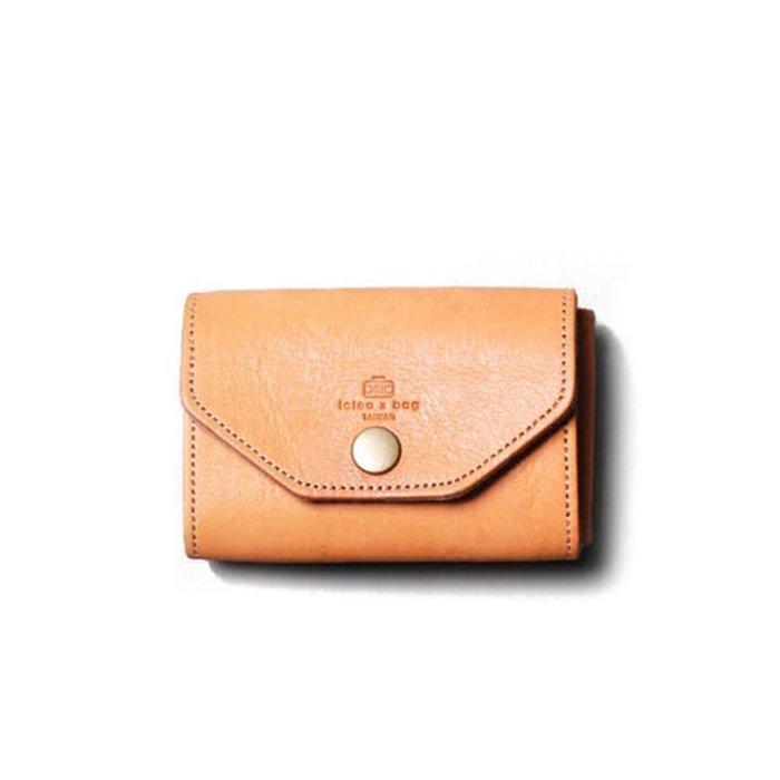點子包 iclea X bag │真皮鑰匙卡片兩用包 頭層牛皮製 棕色 DG24