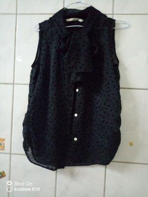 susu高單價日本品牌黑色水玉點點蝴蝶結領巾襯衫上衣