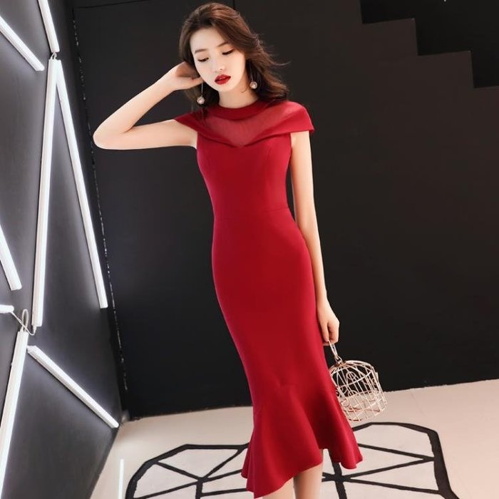 結婚禮服短款2018新款秋季魚尾小個子訂婚禮服紅色氣質優雅回門Y-優思思