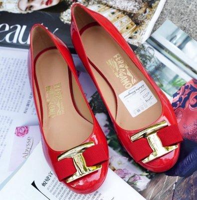 Ferragamo NINNA 1 cm Rosso 蝴蝶結低跟娃娃鞋 1 cm 紅