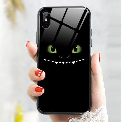 iphone xs max手機殼馴龍高手2蘋果x鋼化玻璃xs可愛無牙仔xr蘋果7/8plus網紅新款6splus搞怪趣味