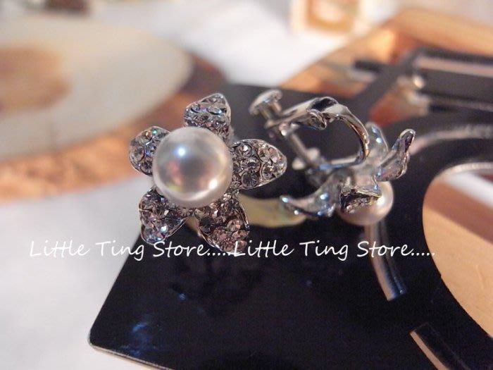 Little Ting Store 母親節禮物 施華洛世奇BLING立體小花珍珠 貼耳夾式螺旋栓式耳環耳夾耳環