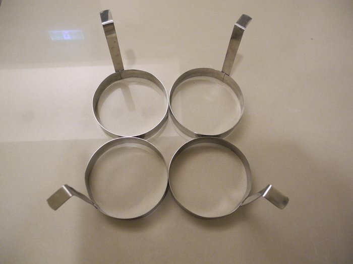 304不鏽鋼長柄專業用不燙手圓形煎蛋模具/煎蛋器 烘焙模型 南瓜餅模型 直徑9.5cm 高度2cm